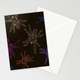 Technicolor Spiders, dark Stationery Cards