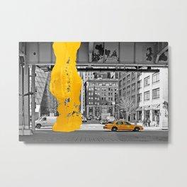 NYC Yellow Cabs - Fish Market - Brush Stroke Metal Print
