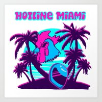 hotline miami Art Prints featuring Hotline Miami  by noxioussomnium