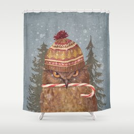 Christmas Owl  Shower Curtain