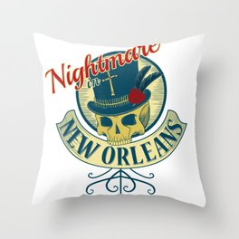 Nightmare in New Orleans Throw Pillow