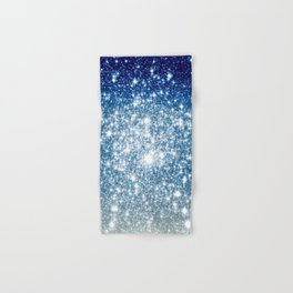 Galaxy Sparkle Stars Deep Blue Silver Ombre Hand & Bath Towel