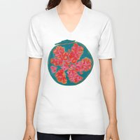 pomegranate V-neck T-shirts featuring Pomegranate by bravo la fourmi