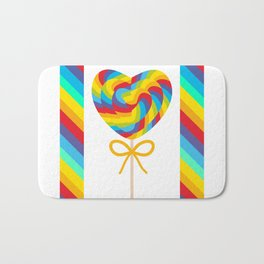 Valentine's Day Heart shaped candy lollipops with bow, colorful spiral candy cane with rainbow Bath Mat