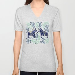 Swedish Dala Horse – Navy & Mint Palette Unisex V-Neck