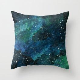 Emerald Galaxy Throw Pillow