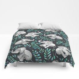 Laughing Baby Elephants – emerald and turquoise Comforters