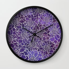 Dahlia Flower Pattern 3 Wall Clock