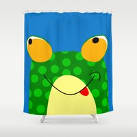 frog Shower Curtains featuring Frog by Jessica Slater Design & Illustration