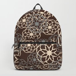 Brown and Silver Floral Pattern Backpack