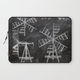 steampunk western country chalkboard art agriculture farm windmill patent print Laptop Sleeve