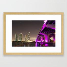 Neon Bridge Framed Art Print