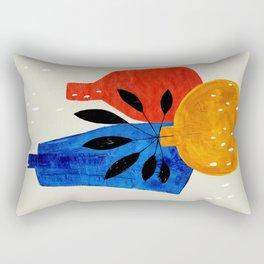 Minimalist Mid Century Modern Vase Plants Primitive Colorful Style Rectangular Pillow
