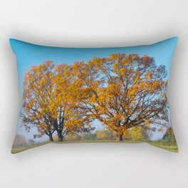 Oaks in the misty Autumn morning (Golden Polish Autumn) #2 Rectangular Pillow