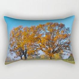 Oaks in the misty Autumn morning (Golden Polish Autumn) #2 Rectangular Pillow