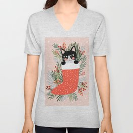 Cat on a sock. Holiday. Christmas Unisex V-Neck