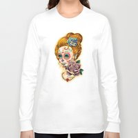 fitzgerald Long Sleeve T-shirts featuring Dia de los Muertos Roses by Cathy FitzGerald
