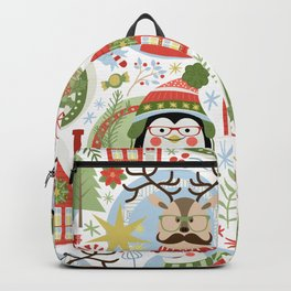 Holiday Christmas Winter Wonderland with Hipster Santa Reindeer Polar Bears and Penguins Backpack