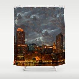 Night at Boston Harbor Shower Curtain