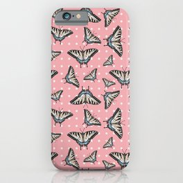 Butterflies and dots - pink iPhone Case