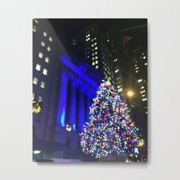 Wall Street Christmas, NYC Holiday Tree Lights Metal Print