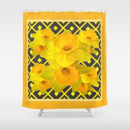Golden Daffodils Grey Art Design Shower Curtain