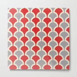 Classic Fan or Scallop Pattern 417 Gray and Red Metal Print