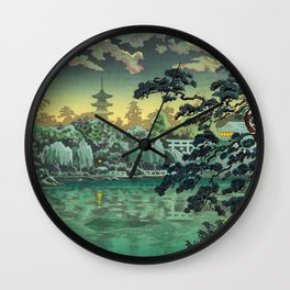 Tsuchiya Koitsu - Ueno Shinobazu Pond - Japanese Vintage Woodblock Painting Wall Clock