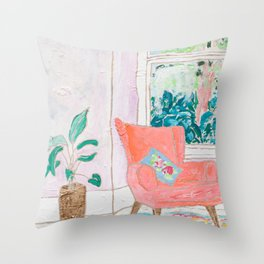 A Room with a View - Pink Armchair by the Window Throw Pillow