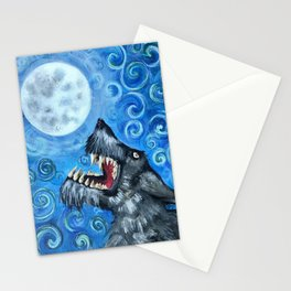 Werewolf Howling at the Full Moon  Stationery Cards