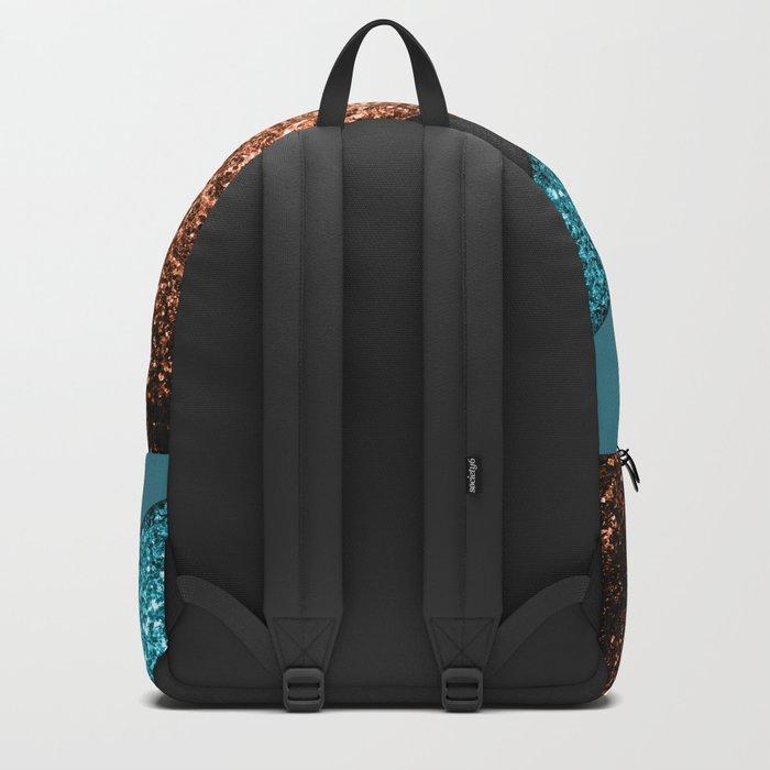 Aqua blue and bronze sparkles modern color block art Backpack