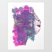 jane davenport Art Prints featuring Feathers in her Hair by Jane Davenport by Jane Davenport