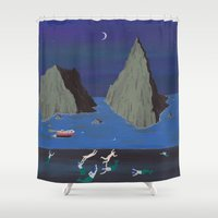 mermaids Shower Curtains featuring Evil Mermaids by Angela Dalinger