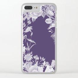 Stardust Violet Indigo Floral Motif Clear iPhone Case