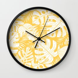 TROPICAL LEAVES ON YELLOW Wall Clock