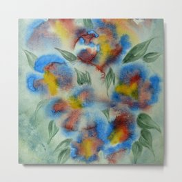 Abstract Flowers Blue Watercolor Metal Print