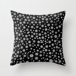 Snowflakes on Black Throw Pillow
