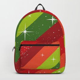 Christmas Pattern, Green, Red, Stars, Snowflakes Backpack