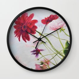 Wildflowers against the sky_Oil on canvas Wall Clock