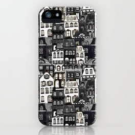 Mansard Village in Black + White Watercolor iPhone Case