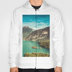 Mountain and Forest Lake Diablo - Blue and Green Water and Trees Hoody