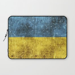 Vintage Aged and Scratched Ukrainian Flag Laptop Sleeve