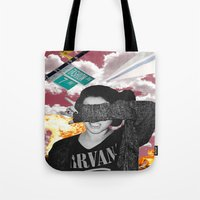 nirvana Tote Bags featuring Personal Nirvana by LittleCarmine
