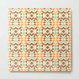 Tribal Triangles Quilt - pastels and warm colours, mint, yellow, brown Metal Print