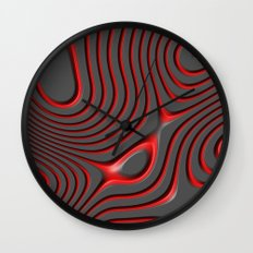 Organic Abstract 01 RED Wall Clock