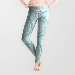 Mandala Pattern Light Blue Teal Aqua Pastels Leggings