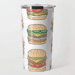 Hamburgers Junk Food Fast food on White Travel Mug