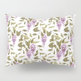 The Branches Of Wisteria .  White background . Pillow Sham