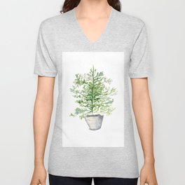 Christmas Tree in Galvanized Bucket Unisex V-Neck
