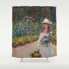 """Claude Monet """"Jeune fille dans le jardin de Giverny"""" Shower Curtain"""